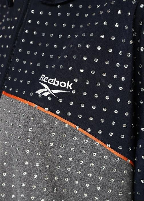 Colourblock Kapüşonlu Taşlı Fermuarlı Sweatshirt