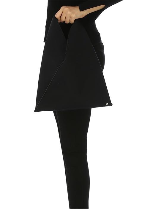 Japanese Small Siyah Neopren Kadın El Çantası