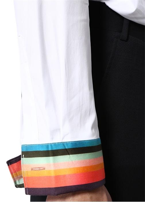Tailored Fit Beyaz Nervürlü Smokin Gömleği