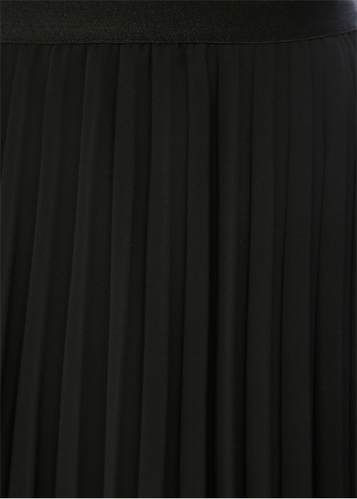 Siyah Pileli Midi Şifon Etek