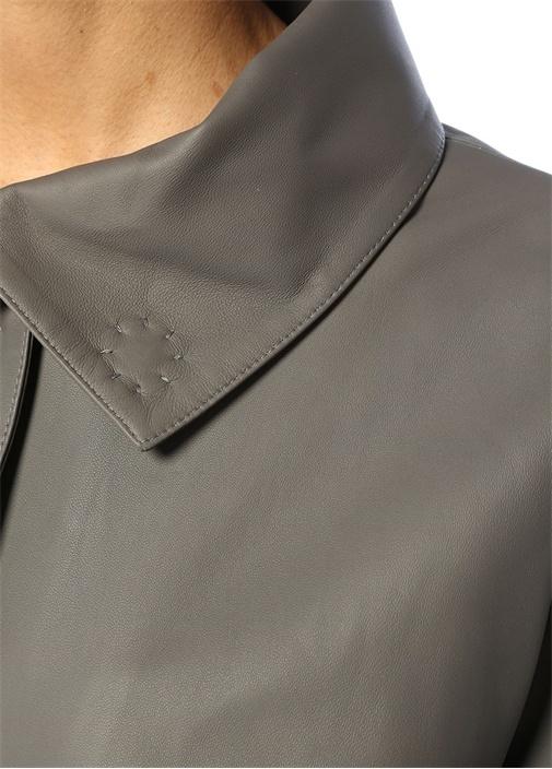 Gri Şerit Detaylı Deri Ceket