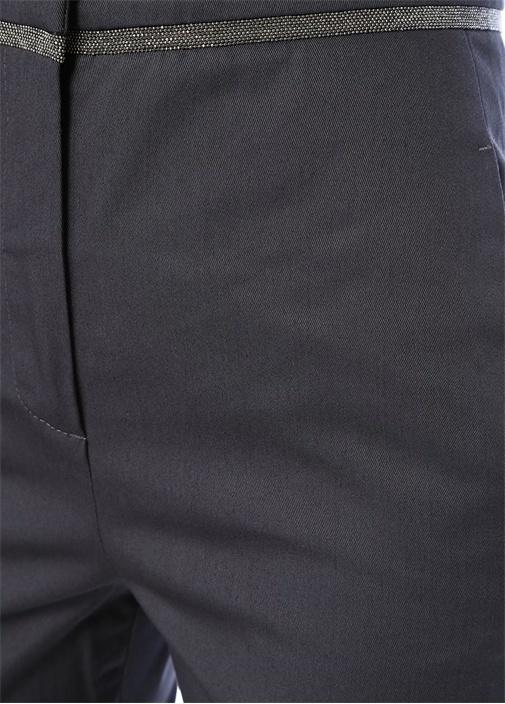 Lacivert Yüksek Bel Zincir Detaylı Pantolon