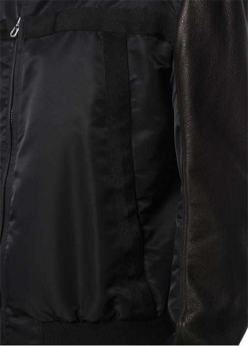 Siyah Dik Yaka Kolu Deri Garnili BomberMont