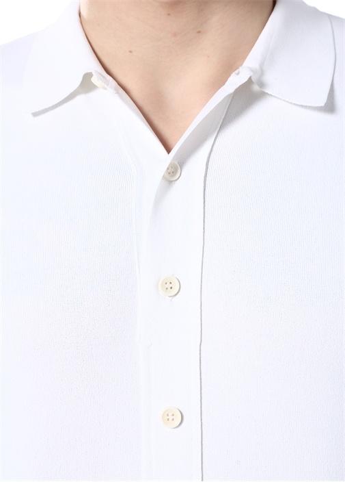 Beyaz Dokulu Polo Yaka T-shirt
