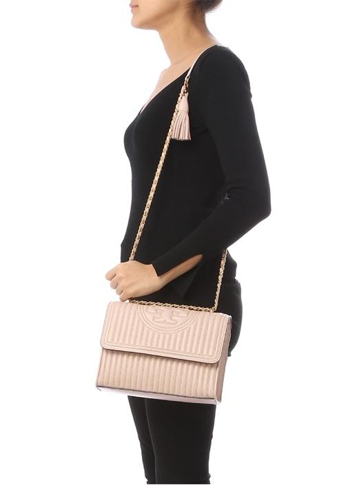 Fleming Mini Pembe Gold Troklu Kadın Deri Çanta