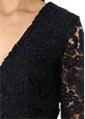 Utopia Lacivert V Yaka Çan Kol Mini Dantel Elbise