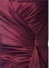 Bordo V Yaka Drapeli Maksi Abiye Elbise
