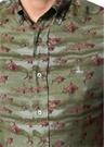 Haki Düğmeli Yaka Baskılı Gömlek
