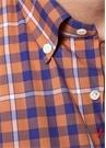 Turuncu Lacivert Düğmeli Yaka Ekoseli Gömlek