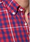 Kırmızı Lacivert Düğmeli Yaka Ekoseli Gömlek