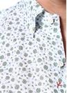 Beyaz Yeşil Mikro Çiçek Desenli Keten Gömlek