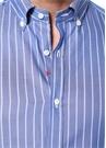 Mavi Çizgili Düğmeli Yaka Gömlek