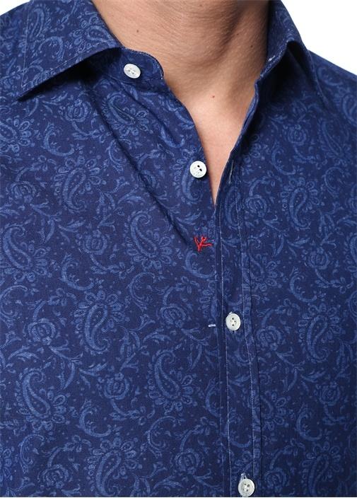 Lacivert Kesik Yaka Çiçek Desenli Gömlek