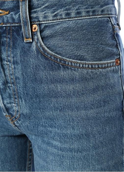 Stove Pipe Mavi Yüksek Bel Boru Paça Jean