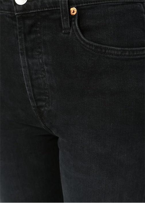 Double Needle Siyah Asimetrik Paçalı Jean