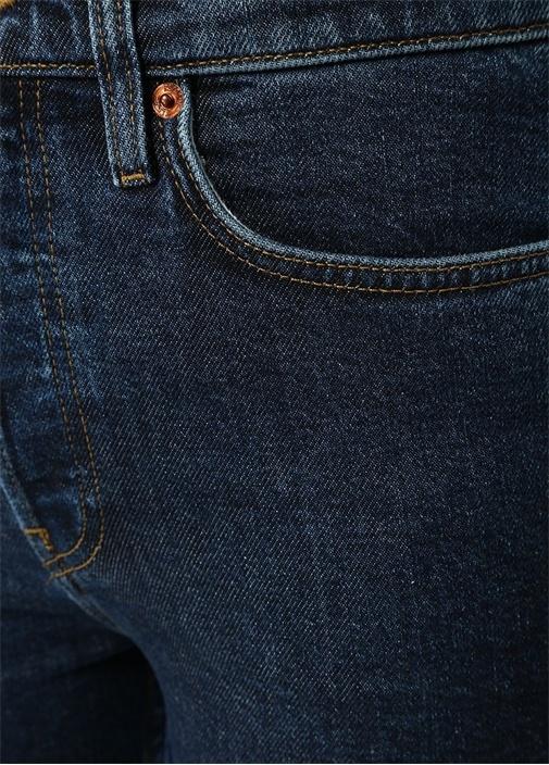Stove Pipe Lacivert Yüksek Bel Boru Paça Jean