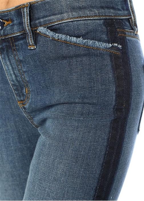 Harley Mavi Yüksek Bel Şeritli Boru Paça Jean