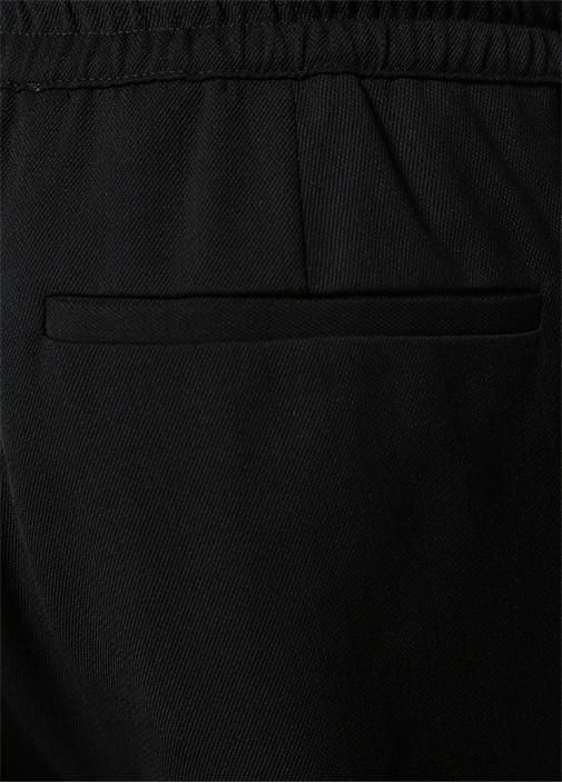 Siyah Normal Bel Pileli Jogger Pantolon