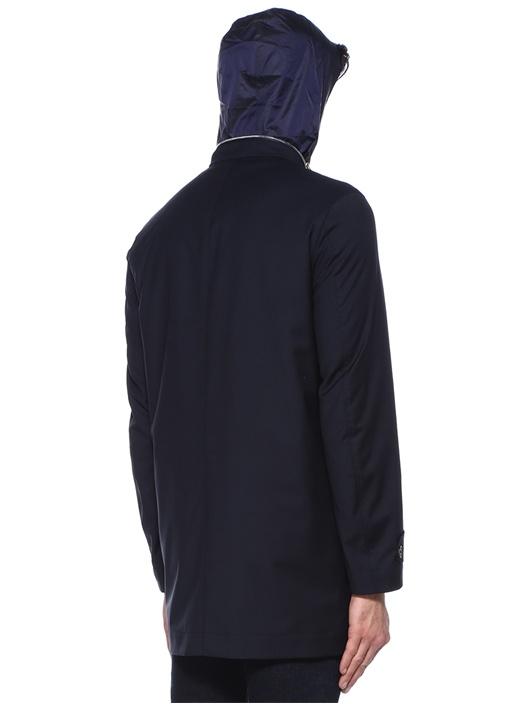 Lacivert Kapüşonlu Dik Yaka Yün Palto