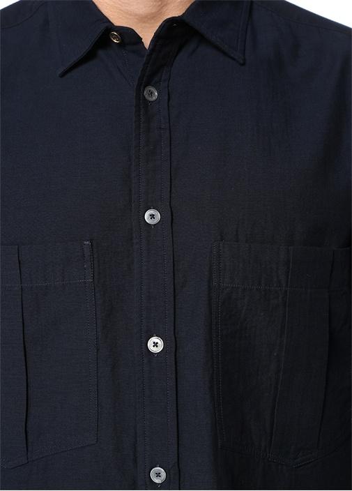 Lacivert İngiliz Yaka Oversize Gömlek