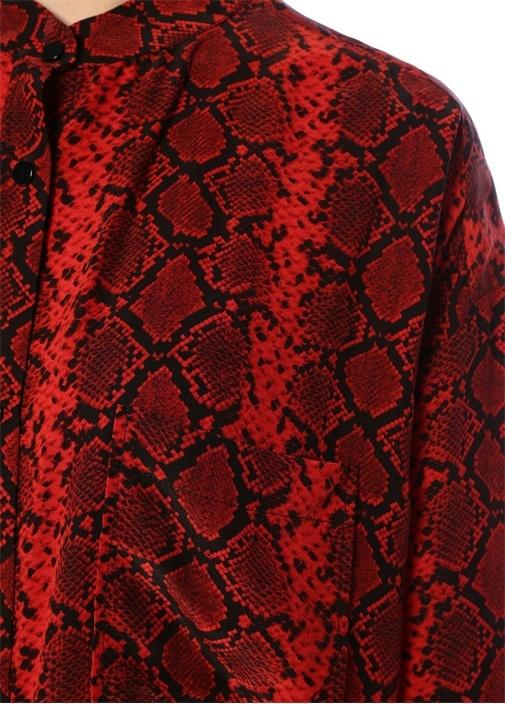 Kırmızı Yılan Derisi Desenli Bol İpek Gömlek