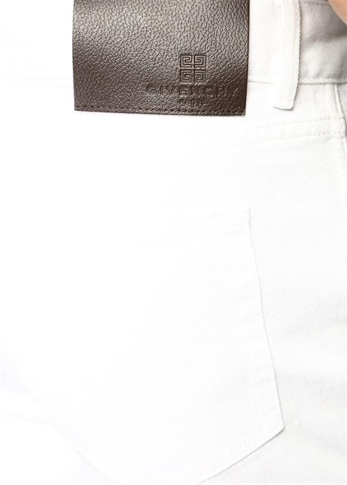 Beyaz Kontrast Logo Şeritli Jean Bermuda