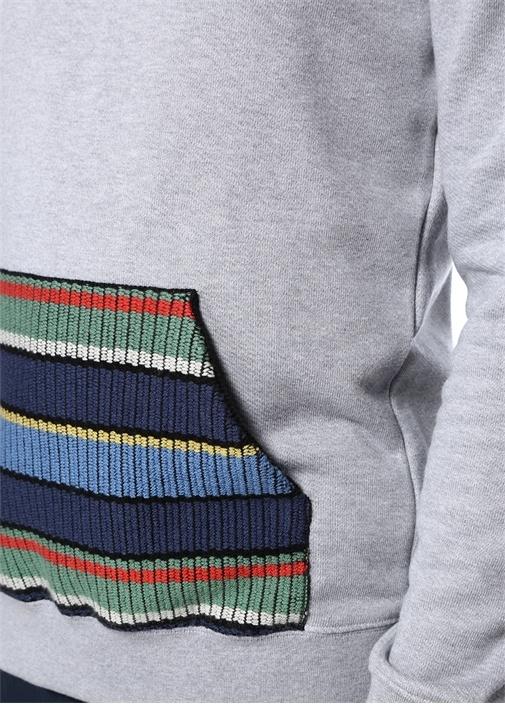Gri Kapüşonlu Colorblocked Cep Detaylı Sweatshirt
