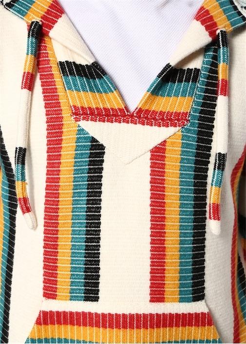 Colorblocked Kapüşonlu Çizgi Desen Jakarlı Kazak