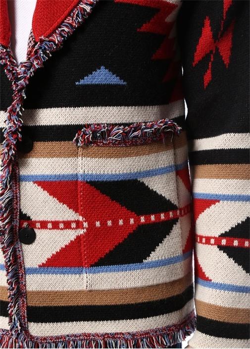 Siyah Şal Yaka Etnik Desen Jakarlı Kaşmir Ceket