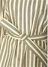 Haki Ekru Çizgili Beli Kuşaklı Midi Gömlek Elbise