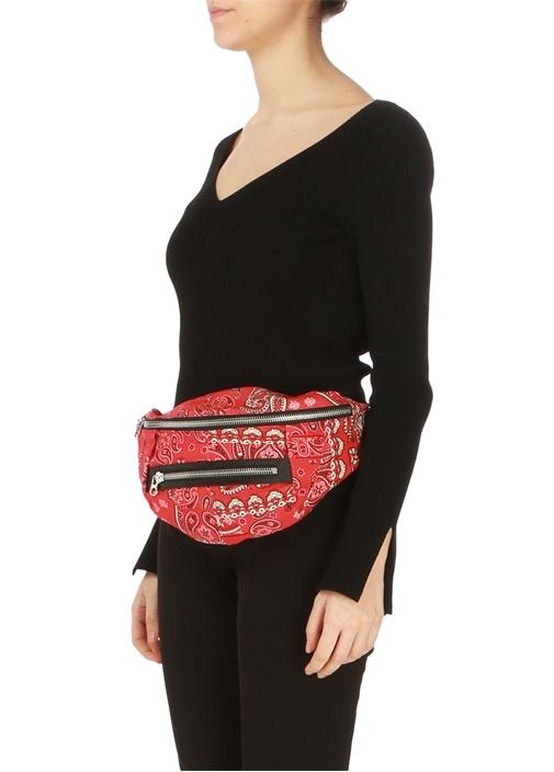 Kırmızı Etnik Desenli Kadın Bel Çantası