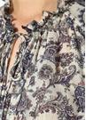 Ekru Yakası Bağlı Şal Desenli Balon Kolİpek Bluz