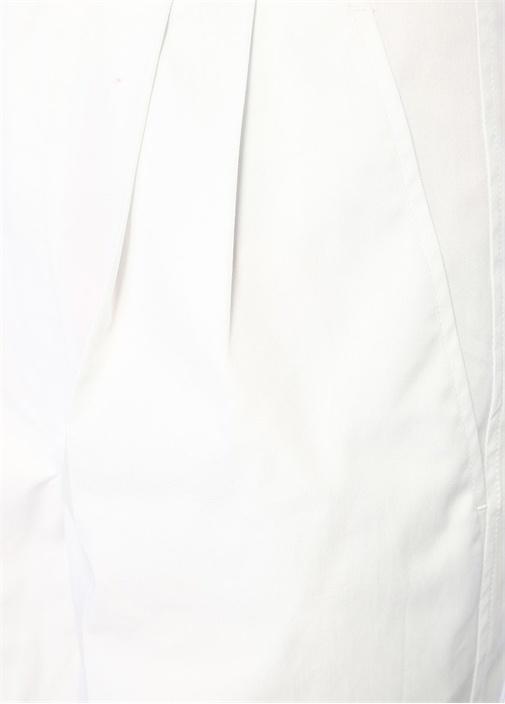Grayson Beyaz Yüksek Bel Pileli Poplin Pantolon
