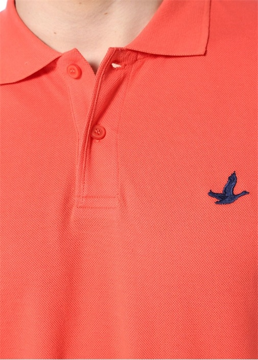 Comfort Fit Mercan Logo Nakışlı Polo Yaka T-shirt