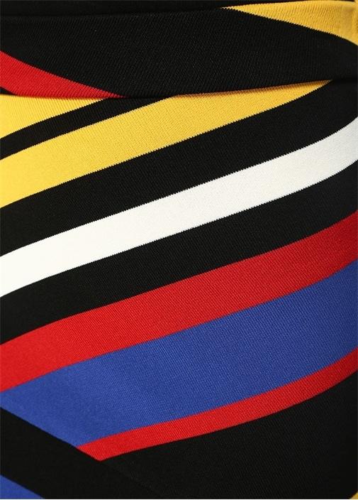 Siyah Renkli Çizgili Asimetrik Midi Triko Etek