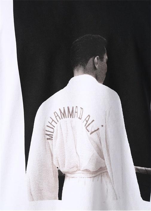 Beyaz Muhammad Ali Baskılı Basic T-shirt
