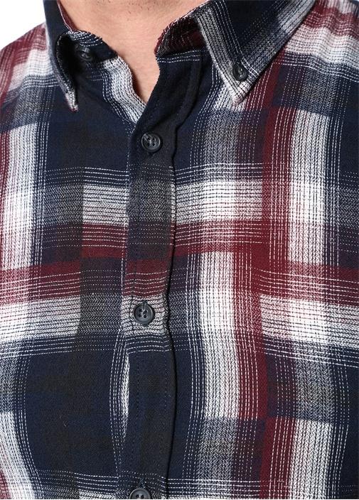 Lacivert Düğmeli Yaka Ekose Desenli Gömlek