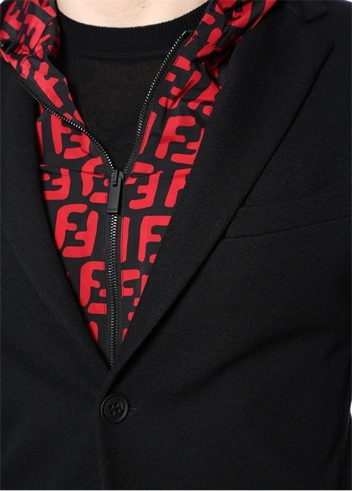 Siyah Kapüşonlu İç Yelek Detaylı Ceket