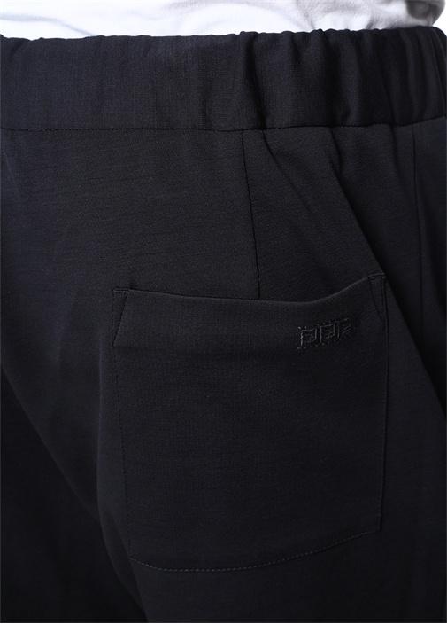 Lacivert Yüksek Bel Dar Paça Yün Pantolon