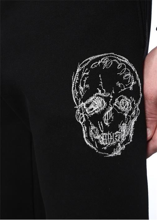 Siyah Logo Nakışlı Paça Detaylı EşofmanAltı