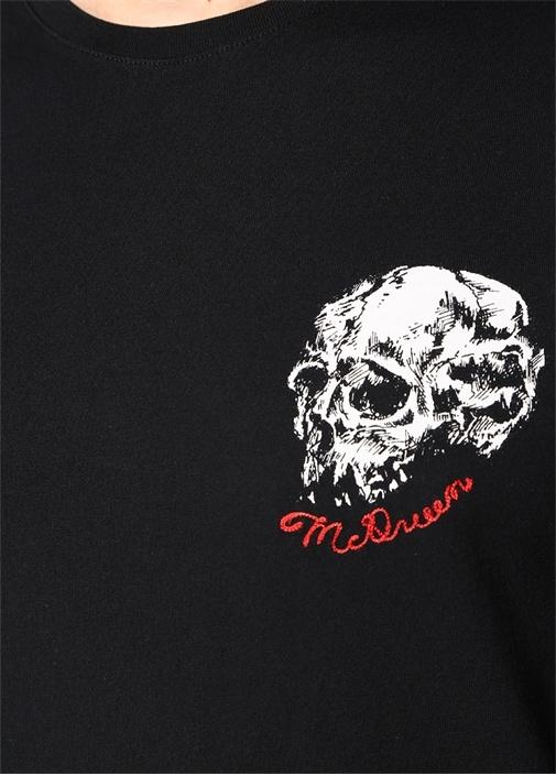 Siyah Logo Baskılı Nakışlı T-shirt