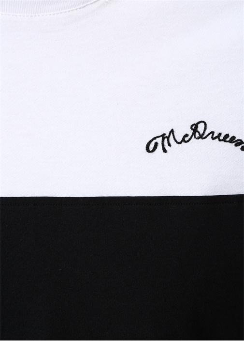 Siyah Beyaz Logo Nakışlı T-shirt