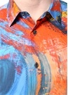Lacivert İngiliz Yaka Karışık Desenli Gömlek