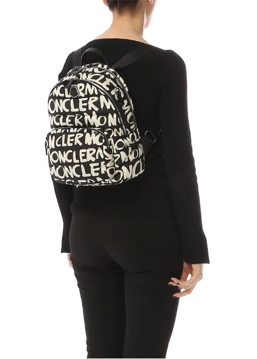 Siyah Beyaz Logo Baskılı Kadın Sırt Çantası