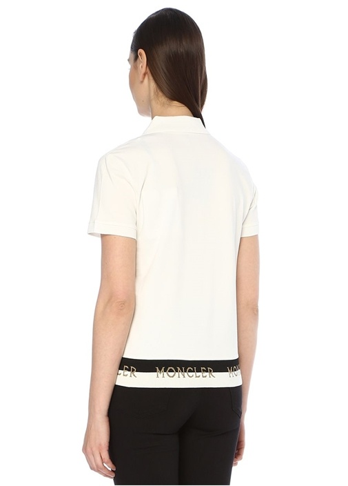 Beyaz Polo Yaka Ucu Logo Şeritli Jarse T-shirt