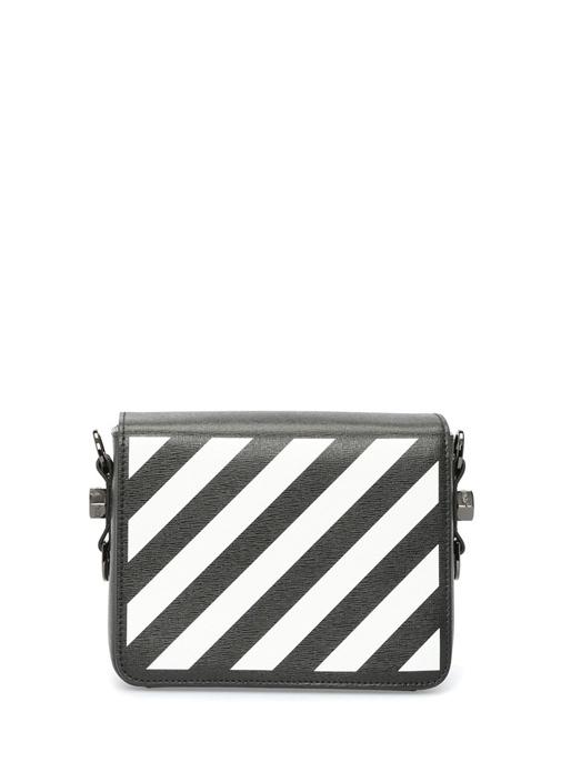 Off-whıte Siyah Beyaz Diyagonal Baskılı Kadın Deri Çanta – 7750.0 TL