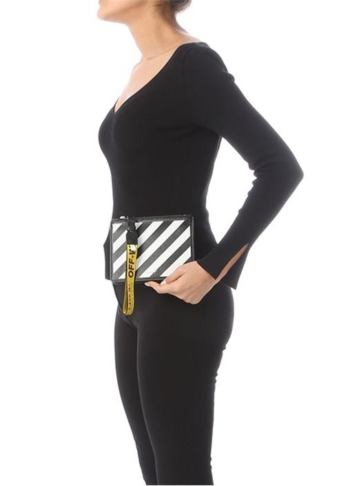 Siyah Beyaz Çizgili Logolu Kadın Deri El Portföyü