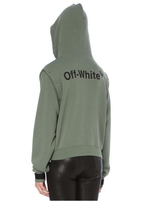 Haki Kapüşonlu Baskılı Kolu Çıtçıtlı Sweatshirt