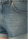 Aware Paçası Katlı Oversize Jean Şort