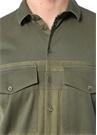 Slim Fit Haki Garnili İngiliz Yaka Gömlek